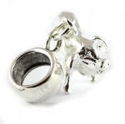 Pig Sterling Silver Dangle Charm / Carrier Bead